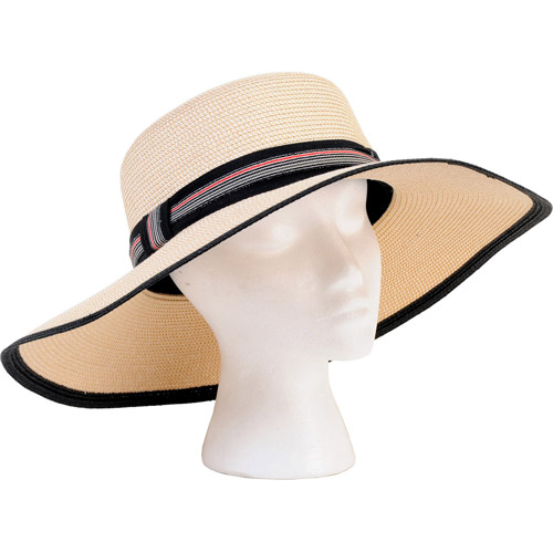 Sloggers 4414BK White and Black Sara Wide Braided Hat