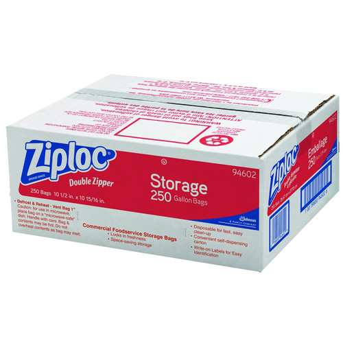Ziploc Double Zipper 1 Gallon Bags, 250ct