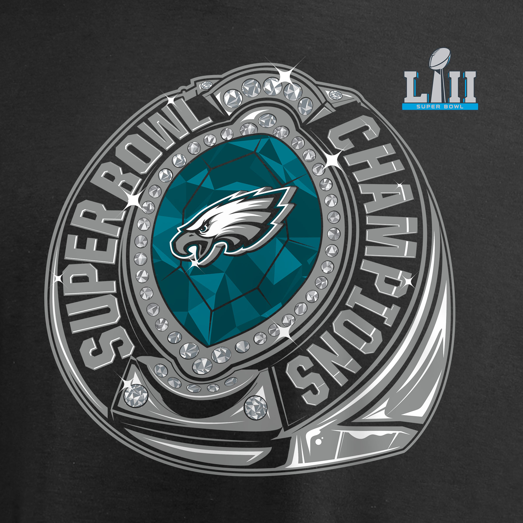 778124ec29d1 Philadelphia Eagles NFL Pro Line by Fanatics Branded Super Bowl LII  Champions Bounce Long Sleeve T-Shirt - Black - Walmart.com