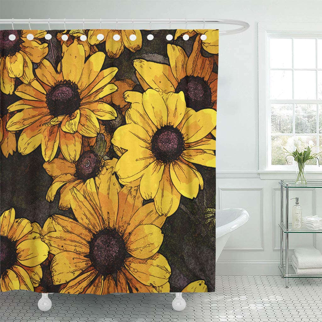 KSADK Watercolor Flower Floral Vintage Colorful with Vibrant Yellow and Brown Sun Dry Bathroom Shower Curtain 60x72 inch