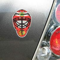 Chicago Blackhawks Goalie Mask Colored Aluminum Car Auto Emblem