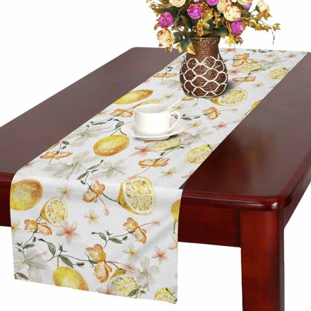 MKHERT Watercolor Floral Table Runner, Tropical Lemon Table Cloth Runner for Wedding Party Banquet Decoration 16x72 inch