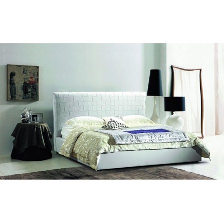low priced 4ff75 5390e J&M Lea Contemporary Premium White Leather High Headboard Platform Queen Bed