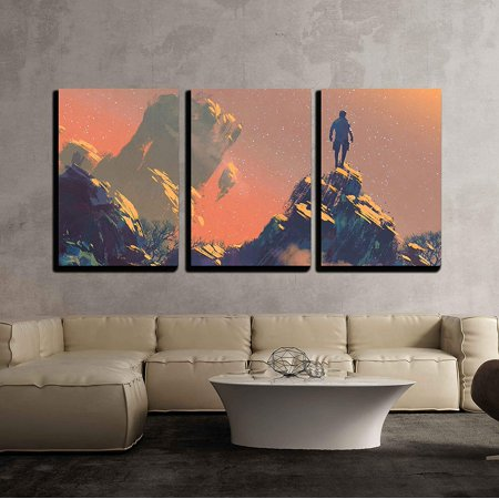 wall26 - 3 Piece Canvas Wall Art - Man Standing on Top of the Hill Watching the Stars,Illustration Painting - Modern Home Decor Stretched and Framed Ready to Hang - 24