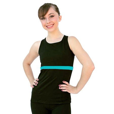 Adult Racer Girl (ChloeNoel Turquoise Racer Back Fitted Skating Top Girls S-L Adult XS-L )