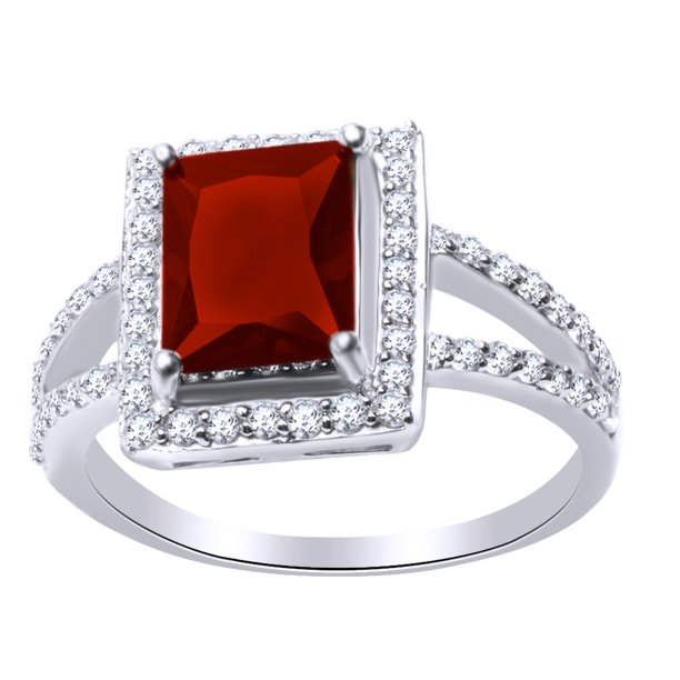 Princess Cut Simulated Garnet & White Cubic Zirconia Solitaire Engagement Ring in 14k White Gold Over Sterling Silver Ring Size - 6.5