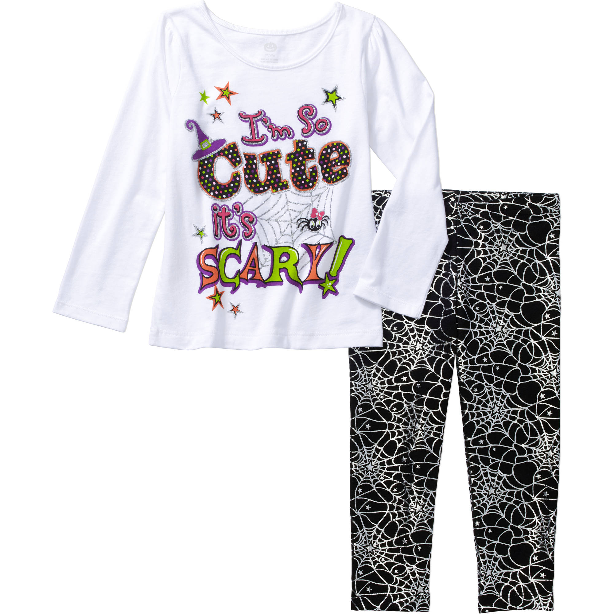 Baby Toddler Girl Halloween Long Sleeve Graphic Tee and Leggings 2-Piece Outfit Set