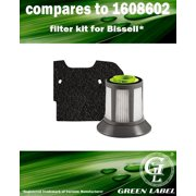 For Bissell Filter Pack, Fits Zing Bagless Canister 1664, 1665, 1669 series. Compares to 1608602 and 1608603. Genuine Green Label Product
