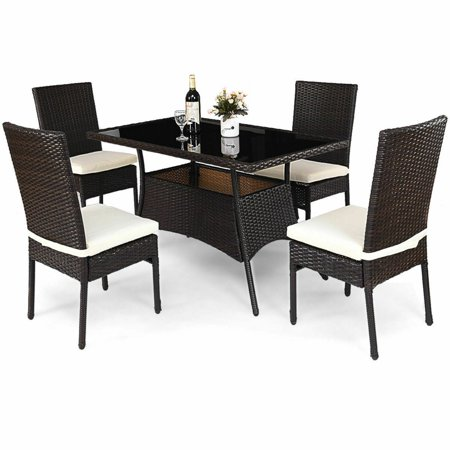 Costway 5 Piece Outdoor Patio Furniture Rattan Dining Table Cushioned Chairs Set (Outdoor Table Chairs)