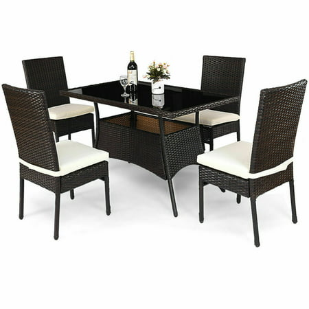 Costway 5 Piece Outdoor Patio Furniture Rattan Dining Table Cushioned Chairs Set Chair Charcoal Outdoor Furniture