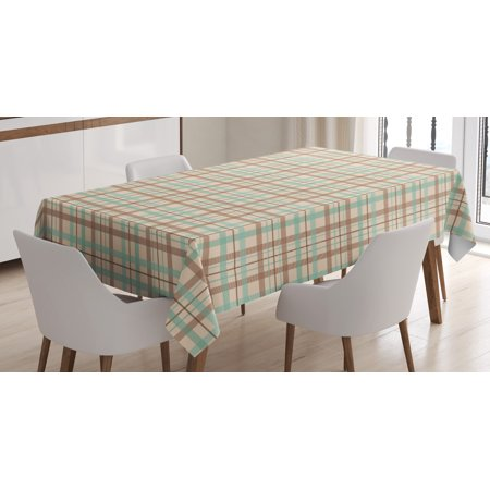 Plaid Tablecloth, Scottish Country Style Tartan with Abstract Design Diagonal Striped Lines, Rectangular Table Cover for Dining Room Kitchen, 52 X 70 Inches, Brown Mint Green Beige, by Ambesonne ()