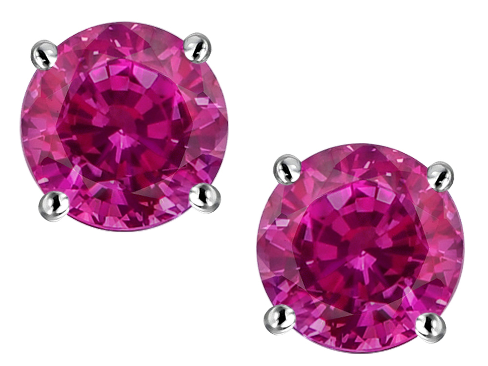 Star K Round 7mm Simulated Pink Tourmaline Screw Back Stud Earrings in 14 kt White Gold by