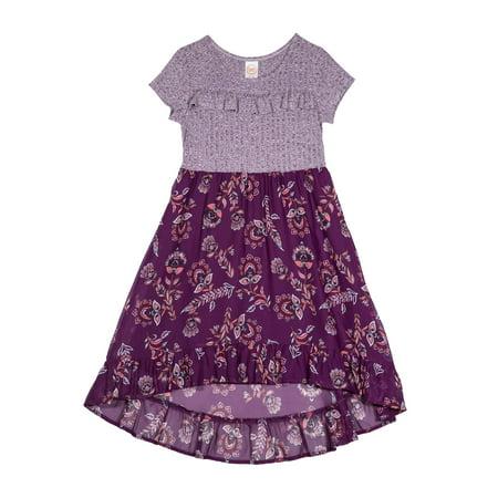 Girls' Melange Knit Floral Print Hi Low Dress for $<!---->