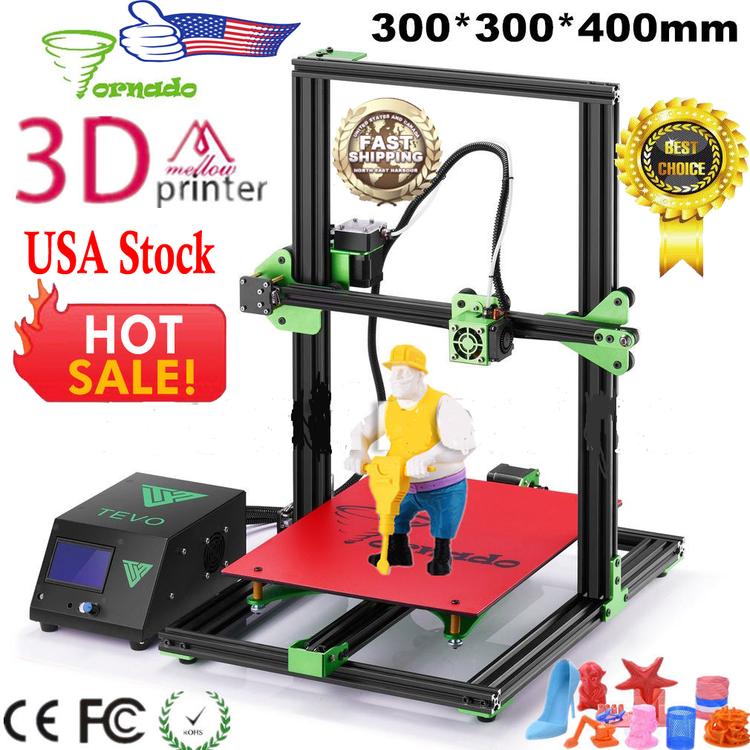 Full Metal High Precision TEVO Tornado DIY 3D Printer Strong Structural Large Printing Size 300X 300 X 400mm US Plug