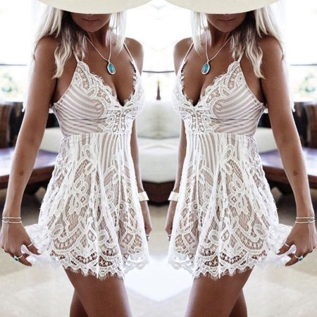 Sexy Women Summer Sleeveless Lace Casual Evening Party Cocktail Mini Dress Sundress