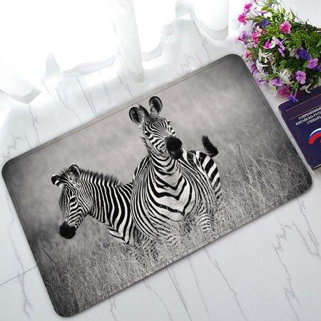 2 White Zebra - PHFZK Animal Doormat, African Two zebras in Black and White Doormat Outdoors/Indoor Doormat Home Floor Mats Rugs Size 30x18 inches