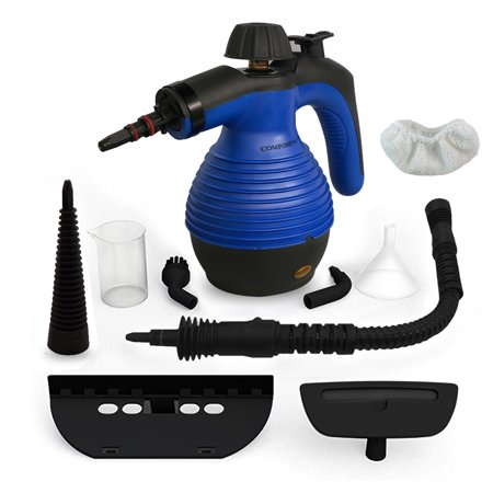 Comforday Handheld Pressurized Steam Cleaner Multi-Purpose Electric Steam Cleaner plus 9 Assorted attachments and Accessories with Long Spray Nozzle, Round Brush Nozzle + More (Best Home Steam Cleaner For Grout)