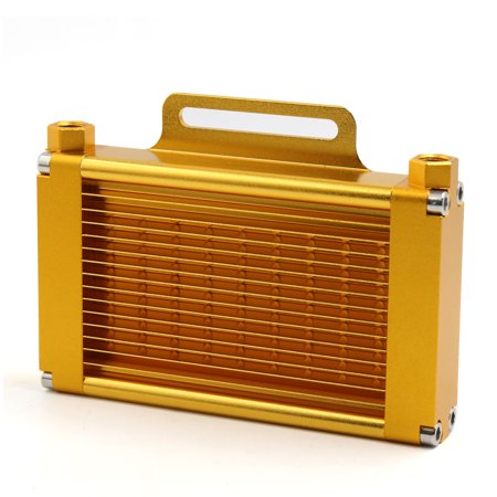 Gold Tone Aluminum Alloy 14 Row 9mm Thread Motorcycle Engine Oil Cooler Radiator - image 3 of 3