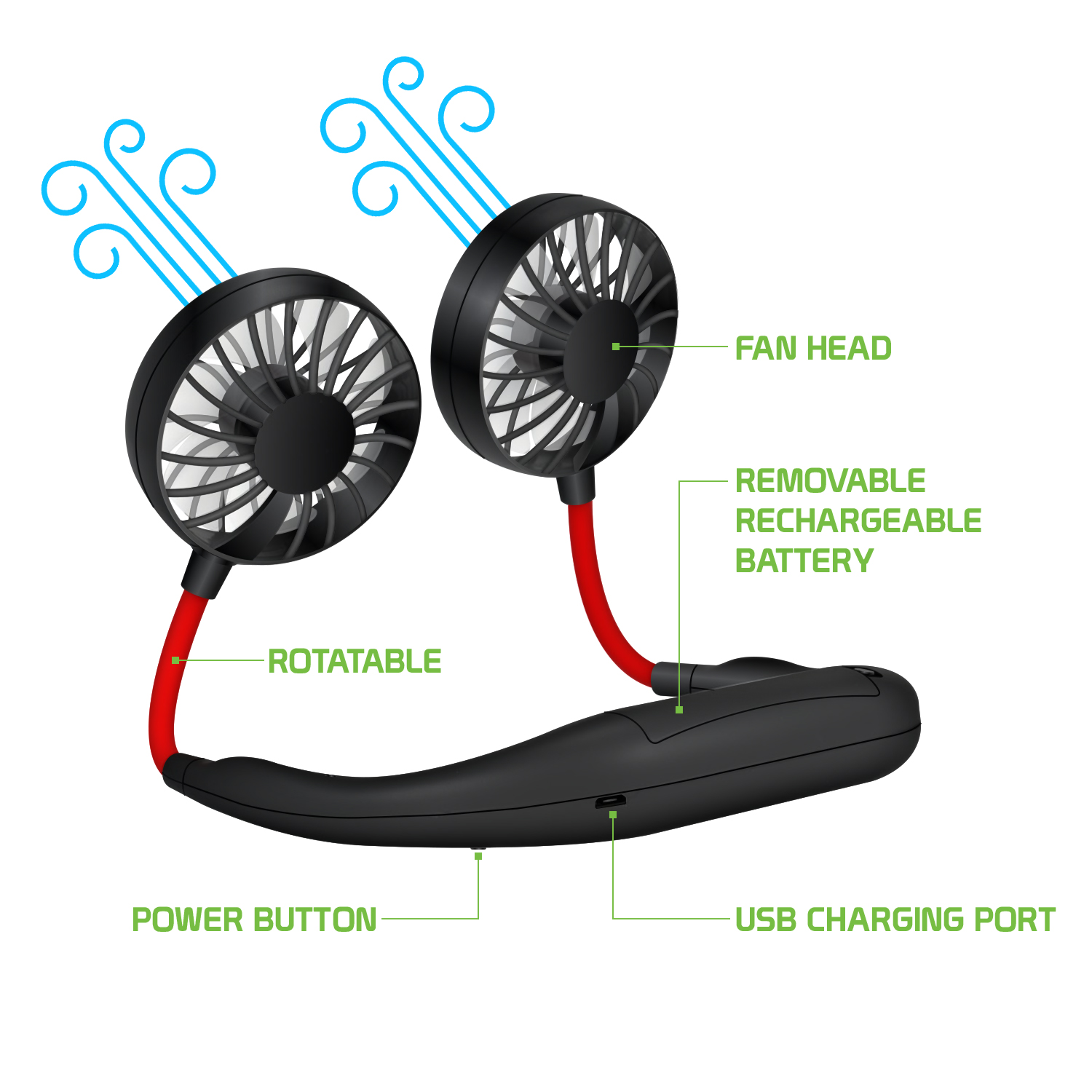 ,BATTERY OPERATED WIND BLASTER MINI FANS WITH NECK STRAP.A COLORS.PER LOT OF 2