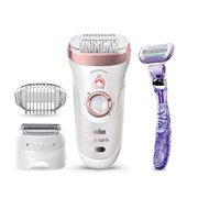 Braun Epilator for Women, Silk-pil 9 9-870 for Hair Removal, Wet & Dry, Facial Hair Remover, Women Shaver & Trimmer, Cordless, Rechargeable, with Venus Extra Smooth Razor, White/Rose Gold