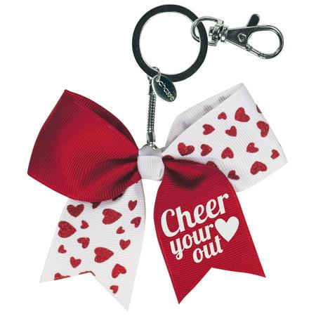 Chassé Mini Glitter Hearts Bow Keychain