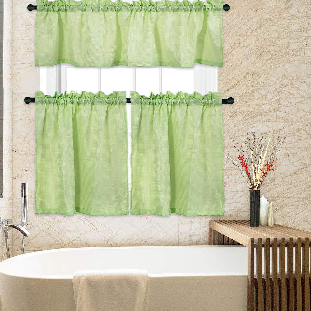 Kitchen Curtains 3 Pc Waffle Woven