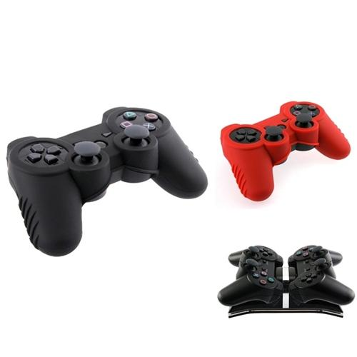 Insten Dual Charging Station+2 Skin Silicone Rubber Case Cover For Sony PS3 Controller