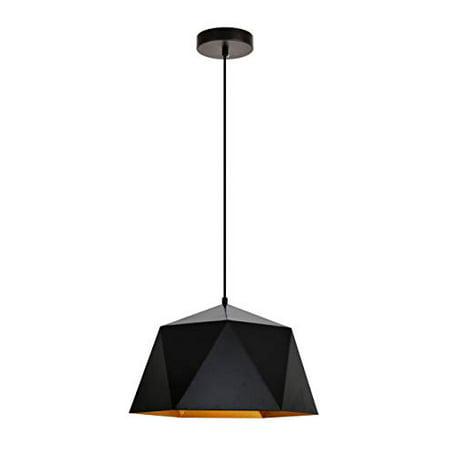 Elegant Lighting Arden Collection Pendant D15.0'' H9.6 Lt:1 Black and Gold Finish