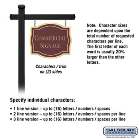 Salsbury 1542MGN2 2 Sided Classic Black Post Commercial Sign with Gold Characters, Maroon Sign - No Emblem