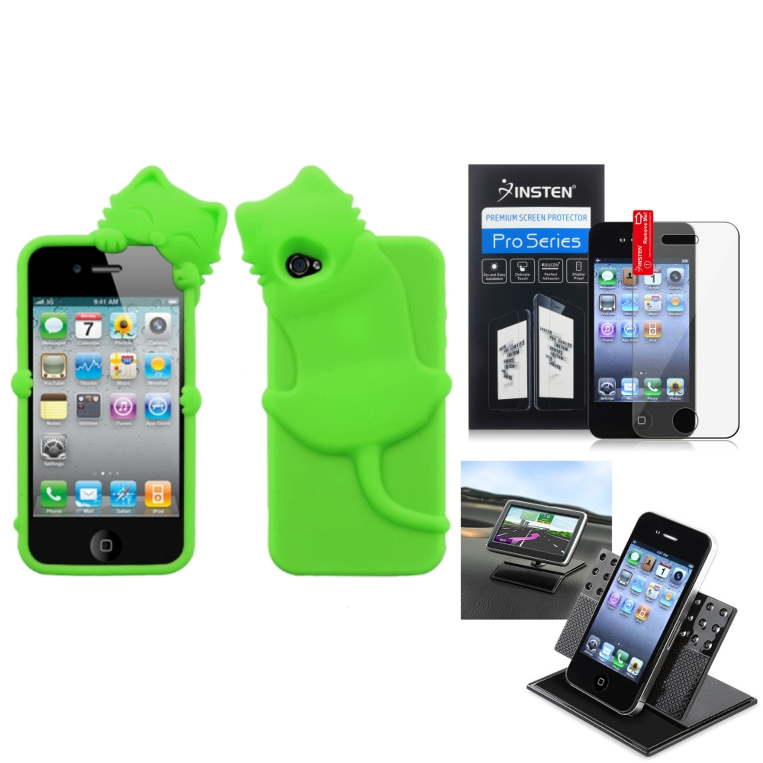 Insten Film Holder Electric Green Cat Peeking Pets Case Cover For APPLE iPhone 4S/4