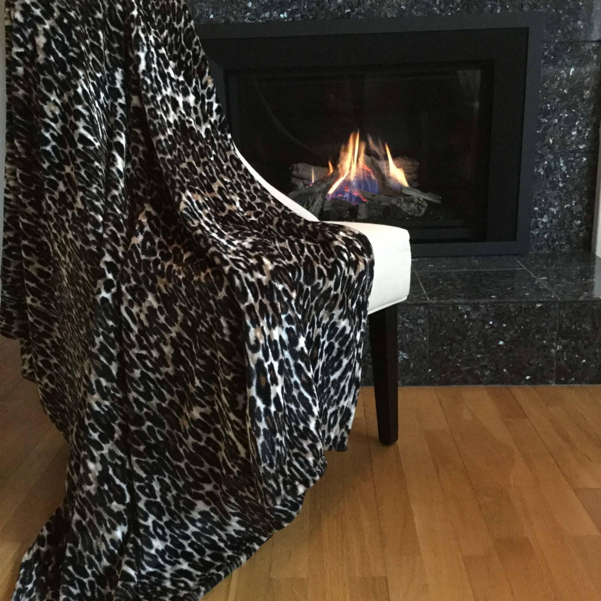 "Patti LaBelle Plush Leopard Throw, 50"" x 70"""