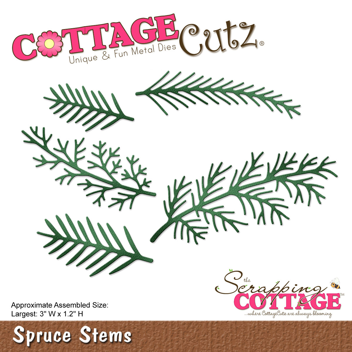 "CottageCutz Die-Spruce Stems, 3""X1.2"""