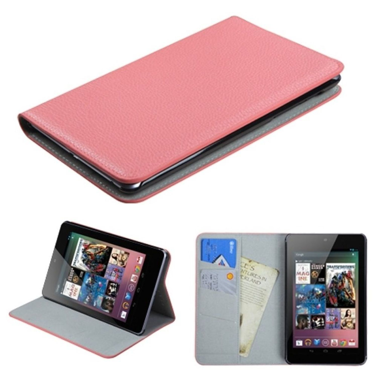 Insten Pink Flip Stand Case with Black Tray For GOOGLE Nexus 7 Tablet