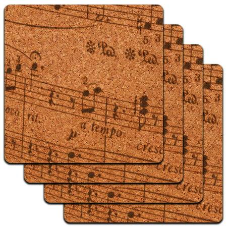 Music Musical Sheet Notes Vintage Treble Clef Low Profile Cork Coaster Set ()