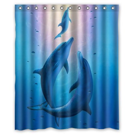 GreenDecor Dolphin Waterproof Shower Curtain Set with Hooks Bathroom Accessories Size 60x72 inches