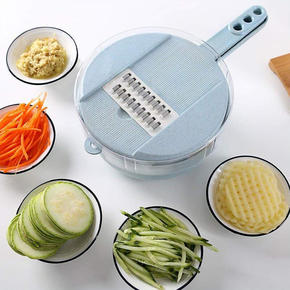 Jeobest 1PC Veggie Chopper Slicer - Kitchen Shredder Slicer - Round Multifunctional Kitchen Shredder Fruits and Vegetables Chopper Food Container Egg White Separator All-in-One Kitchen Tool MZ(blue)