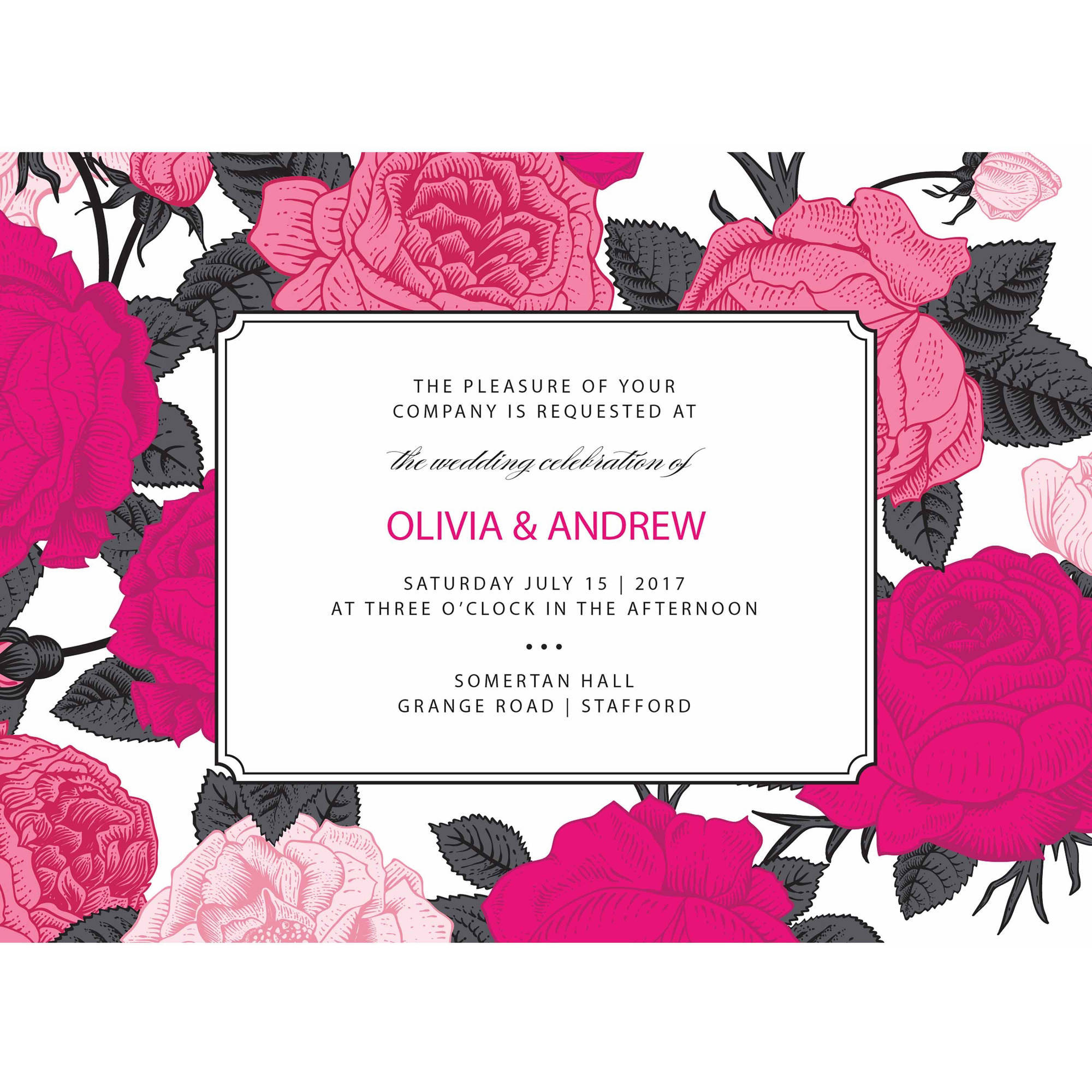 Bright Blooms Standard Wedding Invitation
