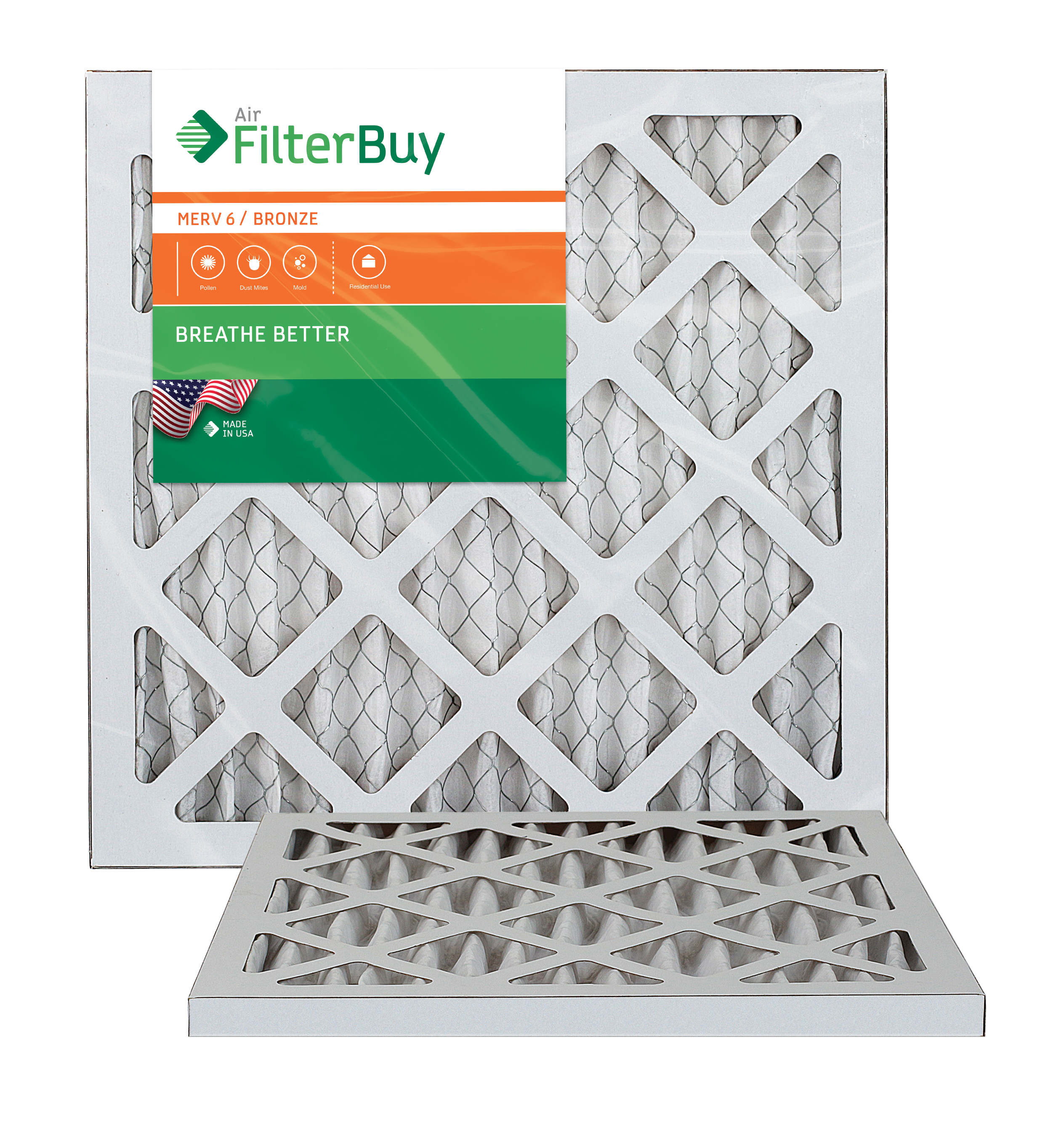 AFB Bronze MERV 6 12x12x1 (Actual Size) Pleated AC Furnace Air Filter. Pack of 2 Filters. 100% produced in the USA.