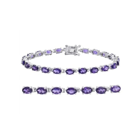 Gemstone Tennis Bracelet in Sterling Silver Choose from Amethyst, Blue Topaz or Peridot ()