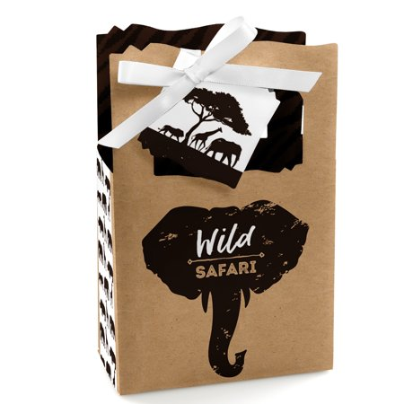 Wild Safari - African Jungle Adventure Birthday Party or Baby Shower Favor Boxes - Set of 12