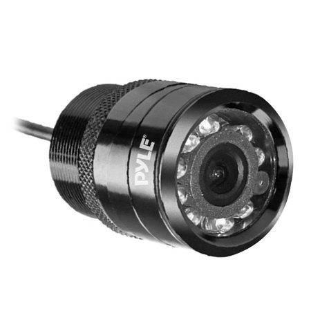 PYLE PLCM22IR - Flush Mount Rear View Backup Parking Reverse Assist Camera, Night Vision LEDs, Built-in Distance Scale Lines,