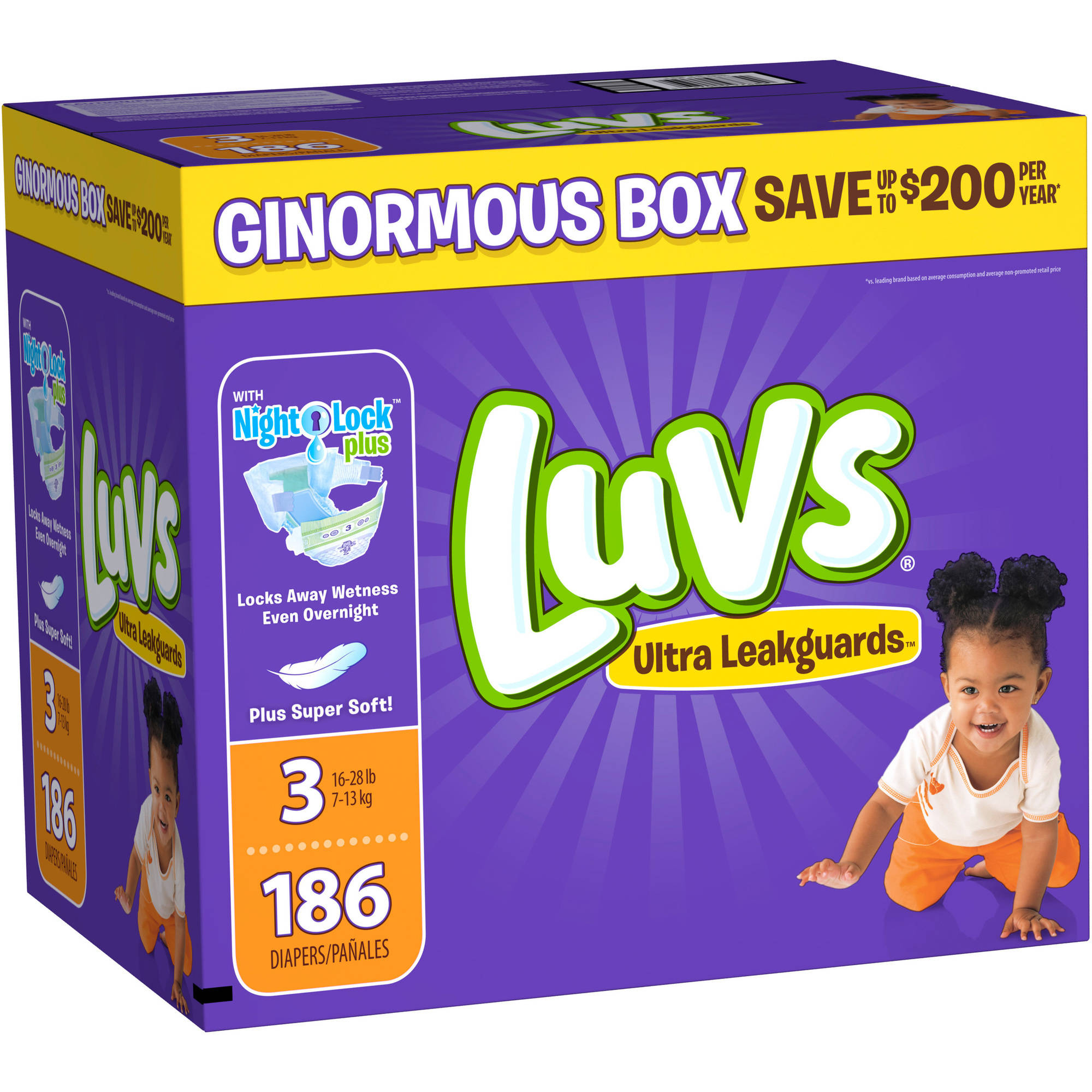 Luvs Ultra Leakguards Diapers, Size 3, 186 Diapers