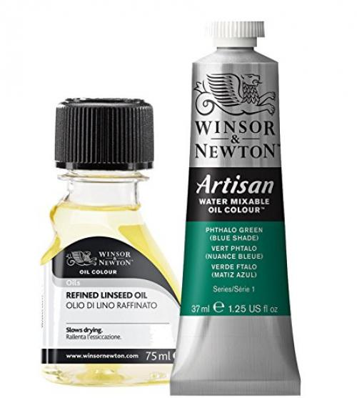 Oil Painting Supplies: Winsor & Newton Artisan Water Mixable Oil Color, 37ml, Phthalo Green with Blue Shade With 75ml Winsor & Newton Refined Linseed Oil - 2 Items Bundled by Maven Gifts
