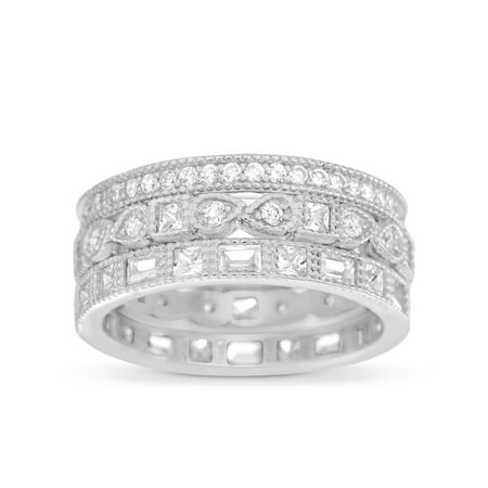 Inspired by You Round Bead Set Cubic Zirconia Antique Style Eternity Band 3pc Bridal Ring Set for Women in Rhodium Plated 925 Sterling (Eternity Silver Jewelry Set)