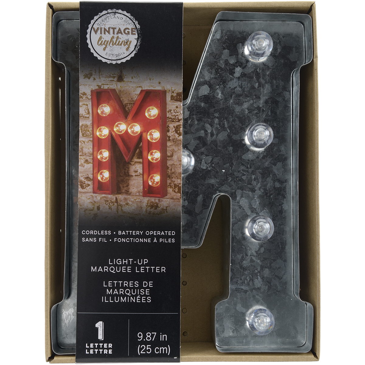 "Darice Silver Metal Marquee Letter 9.875"" M"