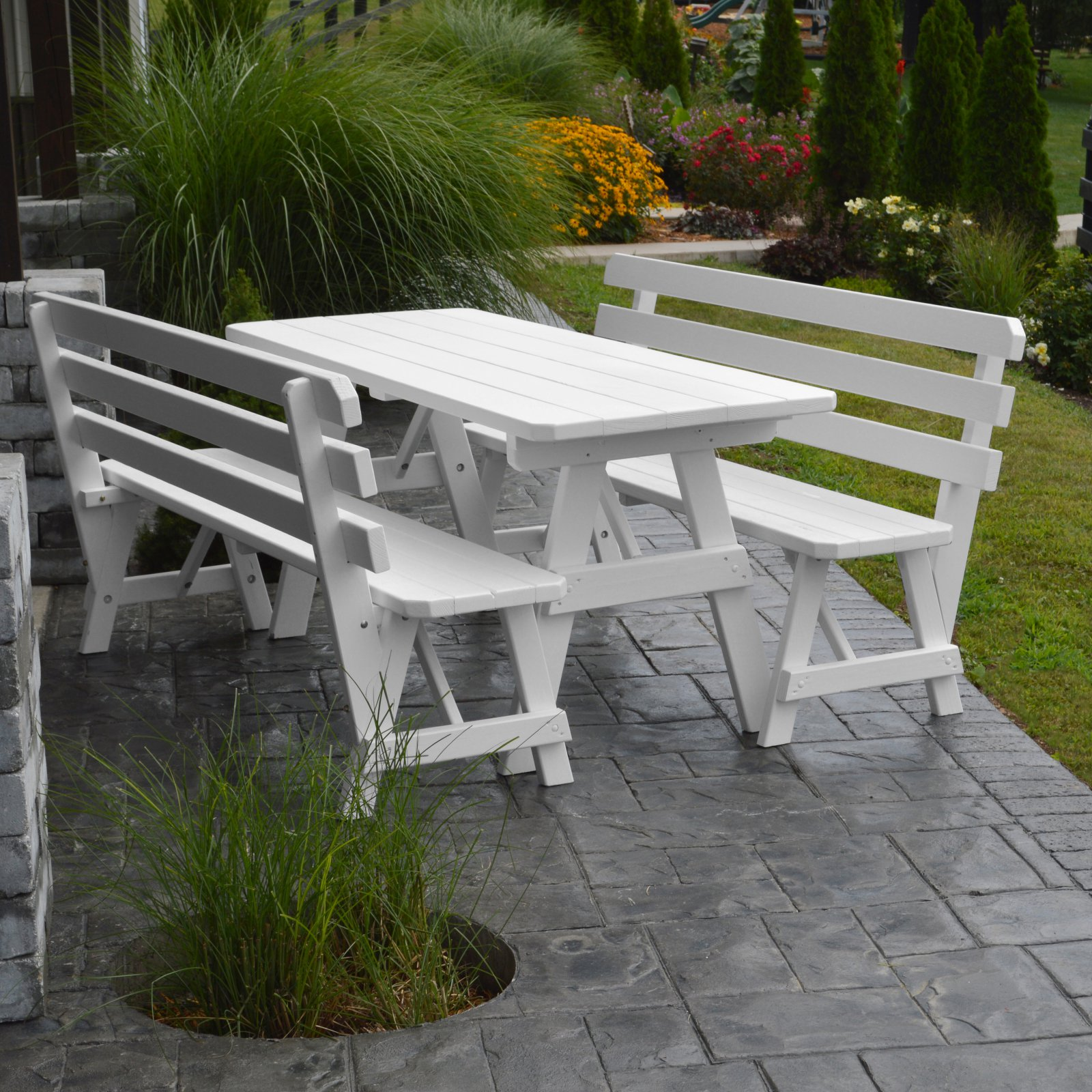 A & L Furniture Yellow Pine Couples Picnic Table with 2 Backed Benches
