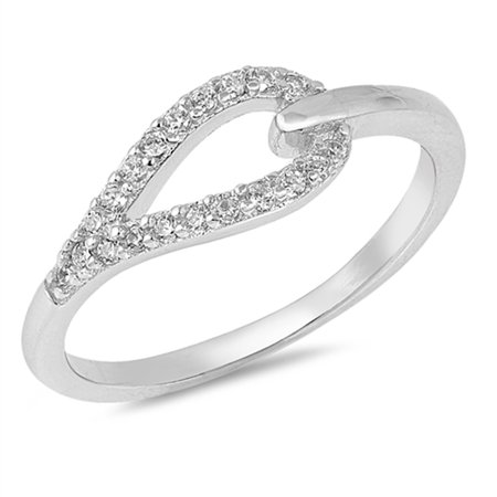 Hangman's Knot (White CZ Belt Loop Knot Hangman Ring New .925 Sterling Silver Band Size)