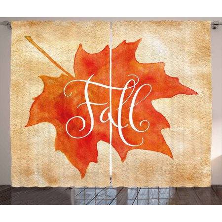 Fall Decor Curtains 2 Panels Set, Vivid Watercolor Maple Leaf Fall Word on Vintage Backdrop Artsy, Window Drapes for Living Room Bedroom, 108W X 84L Inches, Orange Light Brown White, by Ambesonne ()