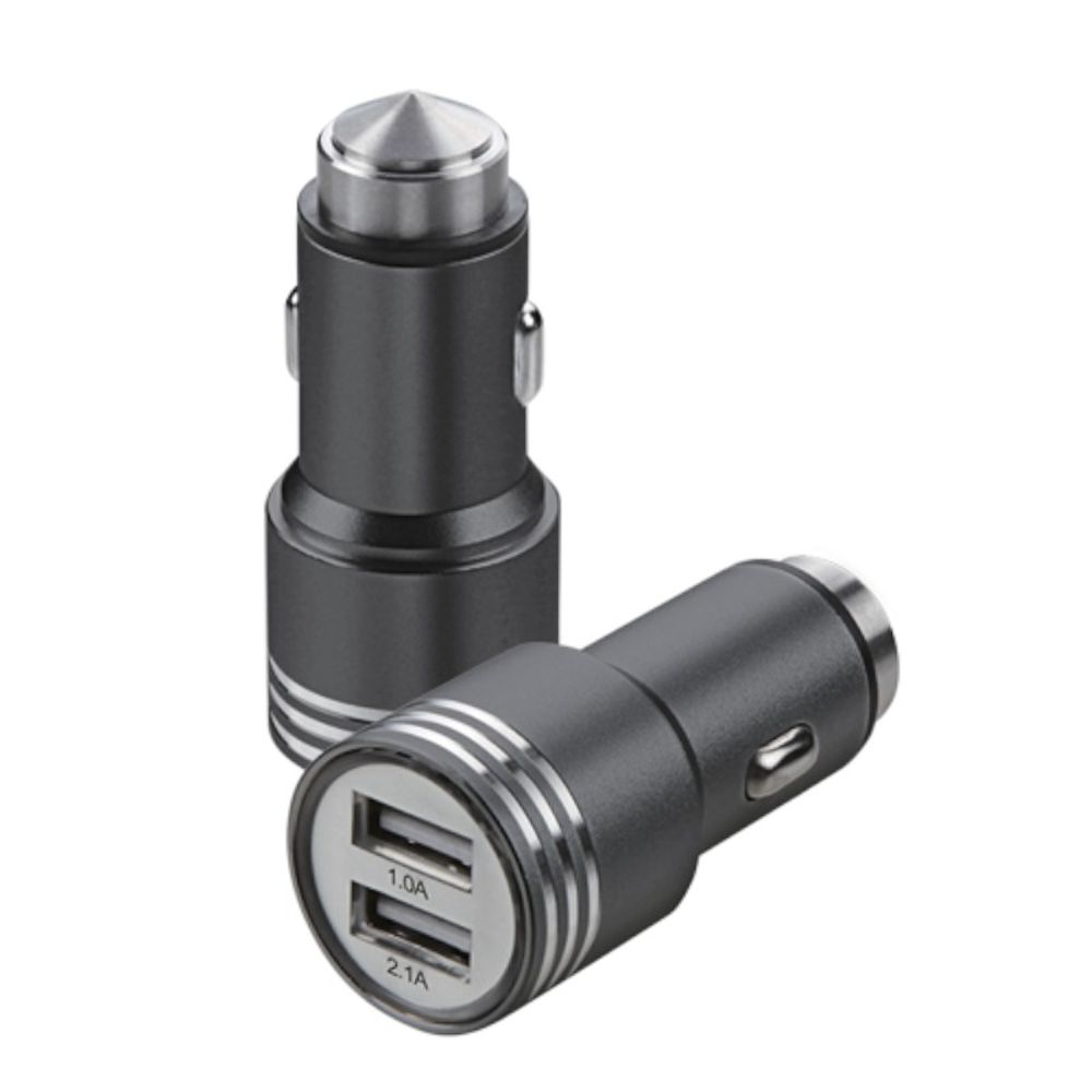 Insten 2.1A Dual USB Metal Alloy Car Charger Adapter (with Emergency Safety Hammer Function) - Black - image 3 of 3