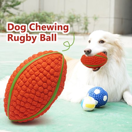 Dog Chewing Ball Rugby Ball Interactive Fetch Non-toxic Durable Chew Bite Toy for Dog Puppy Small